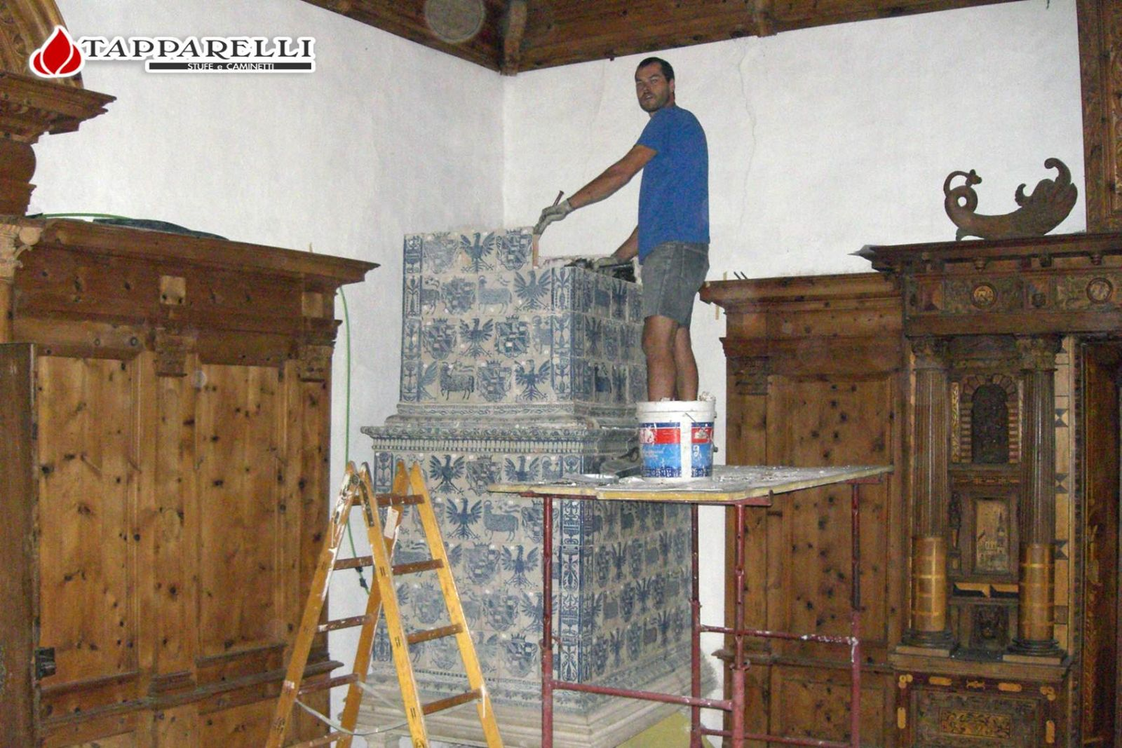 Castel thun restauro stufa nella stanza del principe vescovo
